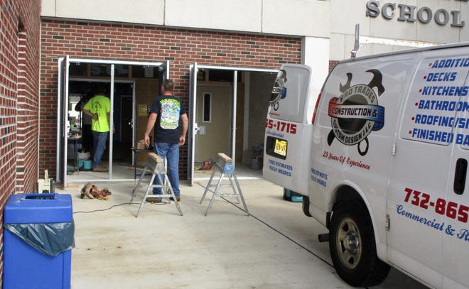 A security vestibule being installed at Soehl Middle School. All schools now have the double-door entrances, which will require visitors to be buzzed in twice before gaining access to the building.