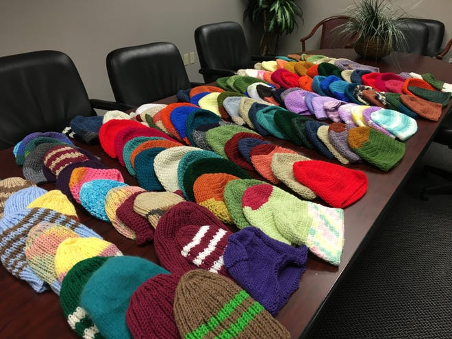 These are hats we collected earlier in the season. You readers have been very prolific.