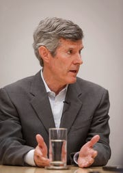 Iowa Democratic gubernatorial candidate Fred Hubbell spoke to reporters and editorial board members on Tuesday, Oct. 2, 2018, at the Des Moines Register office in Des Moines.