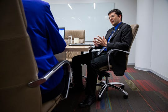 Jake Porter, Libertarian candidate for Iowa governor, meets with the Des Moines Register editorial board on Tuesday, Oct. 2, 2018, in Des Moines. Porter is running against Republican incumbent Kim Reynolds and Democrat challenger Fred Hubbell.