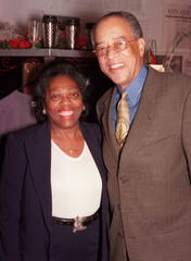 At the October 2000 debut of Walk and  Squawk Performance Project's new space, the Furniture Factory in Detroit's Cass Corridor, are Betty and Bill Brooks of Detroit.