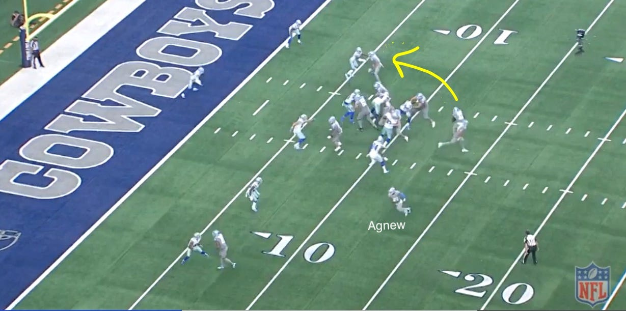 Screen grab of Lions running back Kerryon Johnson touchdown-scoring run against the Cowboys on Sunday, Sept. 30, 2018.