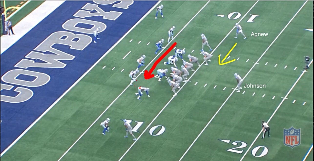Screen grab of Lions' touchdown-scoring play, presnap.