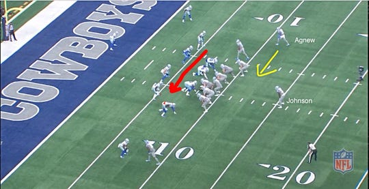 Screen grab of Lions' touchdown-scoring play, presnap.