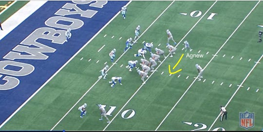Screen grab from Detroit Lions' touchdown-scoring play, pre-snap, with Jamal Agnew in motion.