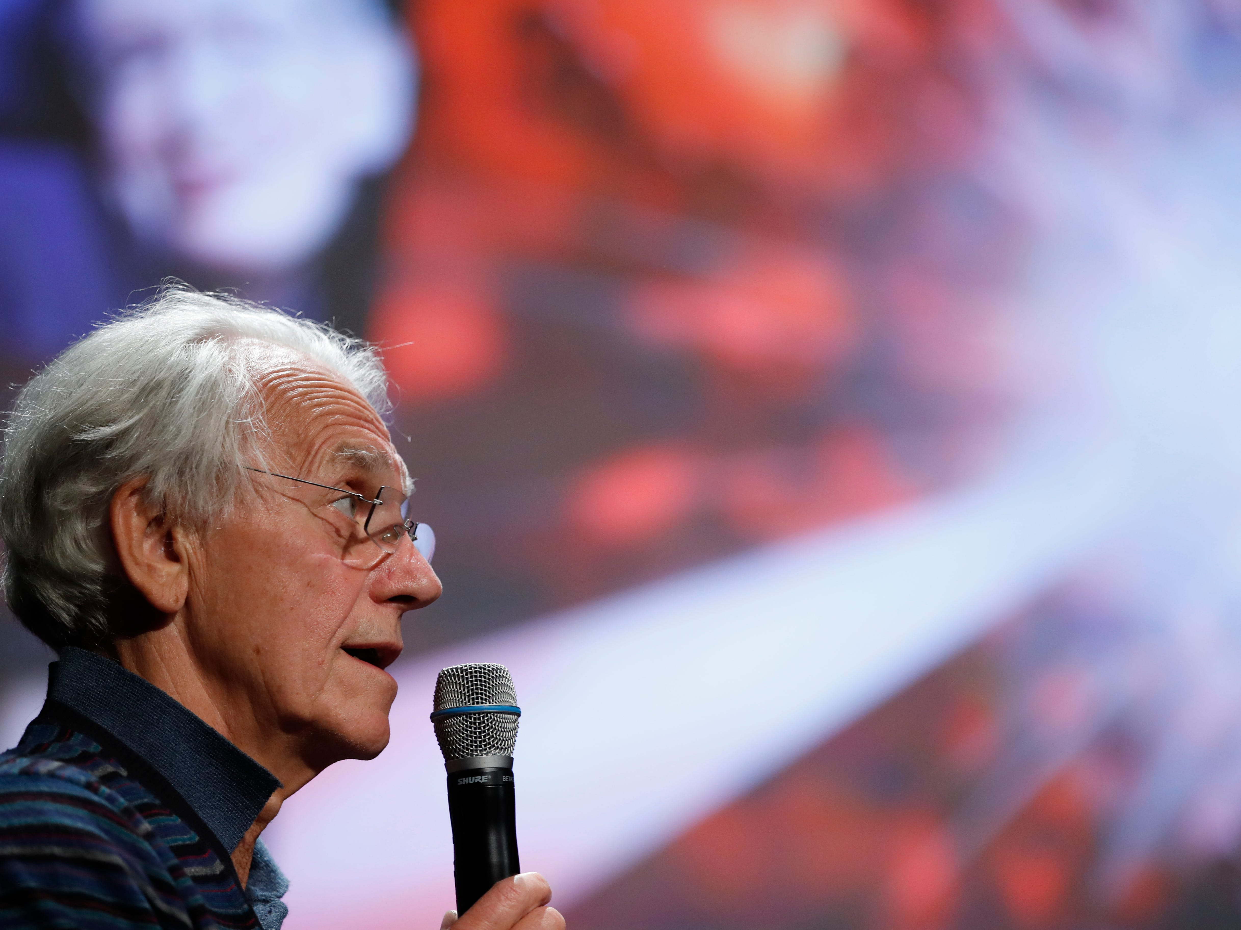 French scientist Gerard Mourou holds a press conference at the Ecole Polytechnique in Palaiseau, south of Paris, Tuesday, Oct. 2, 2018. Three scientists from the United States, Canada and France won the Nobel Prize in Physics on Tuesday for work with lasers described as revolutionary and bringing science fiction into reality.