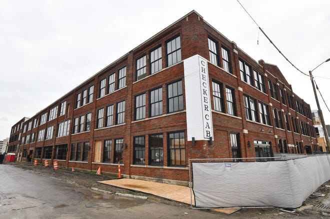 Soave Real Estate Group is redeveloping the former Checker Cab building into apartments and retail spaces.  It's one of six mixed-use buildings that will comprise Elton Park in Detroit's historic Corktown neighborhood.