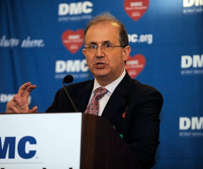 Dr. Ted Schreiber, then-president, DMC Cardiovascular Institute, makes remarks during the DMC groundbreaking ceremony in this January 17, 2012 file photo.
