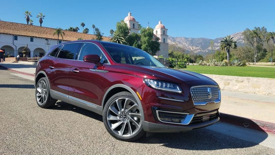 The 2019 Lincoln Nautilus cuts a dashing figure among the famous missions in upscale Santa Barbara, California.