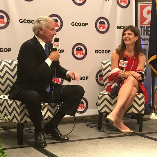 Gov. Henry McMaster and his running mate, Travelers Rest businesswoman Pamela Evette, spoke Monday night to the Greenville County Republican Party.