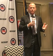 State Sen. William Timmons, the GOP nominee to replace U.S. Rep. Trey Gowdy in South Carolina's 4th Congressional District, speaks Monday to the Greenville County Republican Party.