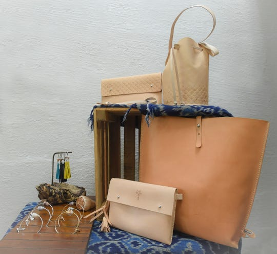 Handcrafted products by The Blue Latitude are displayed in Merizo on Oct. 2, 2018.