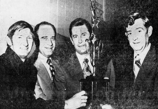 """Jim Rosenstihl, third from left, founded what came to be known as """"Rosie's Roundup,"""" a twice-yearly gathering of people who have shaped Indiana high school basketball."""
