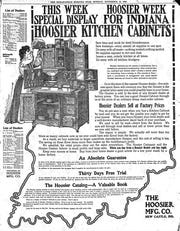 The Hoosier Manufacturing Co. full page ad for the Hoosier Kitchen Cabinets in The Indianapolis News in 1906.