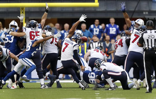 Houston Texans kicker Ka'imi Fairbairn (7) kicks the game winning field goal in overtime of their game on Sunday. The Indianapolis Colts lost 37-34 in overtime to the Houston Texans.
