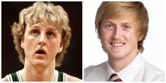 Larry Bird and his twin college basketball player Brady Manek.