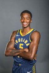 Pacers guard Edmond Sumner posed for a photo during 2018 media day at Bankers Life Fieldhouse.