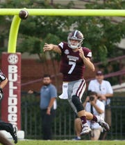 Mississippi State's Nick Fitzgerald (7) jumps in the air as he releases a pass. Mississippi State and Florida played in an SEC college football game on Saturday, September 29, 2018, in Starkville. Photo by Keith Warren/Madatory Photo Credit