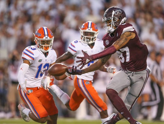 Mississippi State's Osirus Mitchell (87) tries to haul in a pass in the third quarter. Mississippi State and Florida played in an SEC college football game on Saturday, September 29, 2018, in Starkville. Photo by Keith Warren/Madatory Photo Credit
