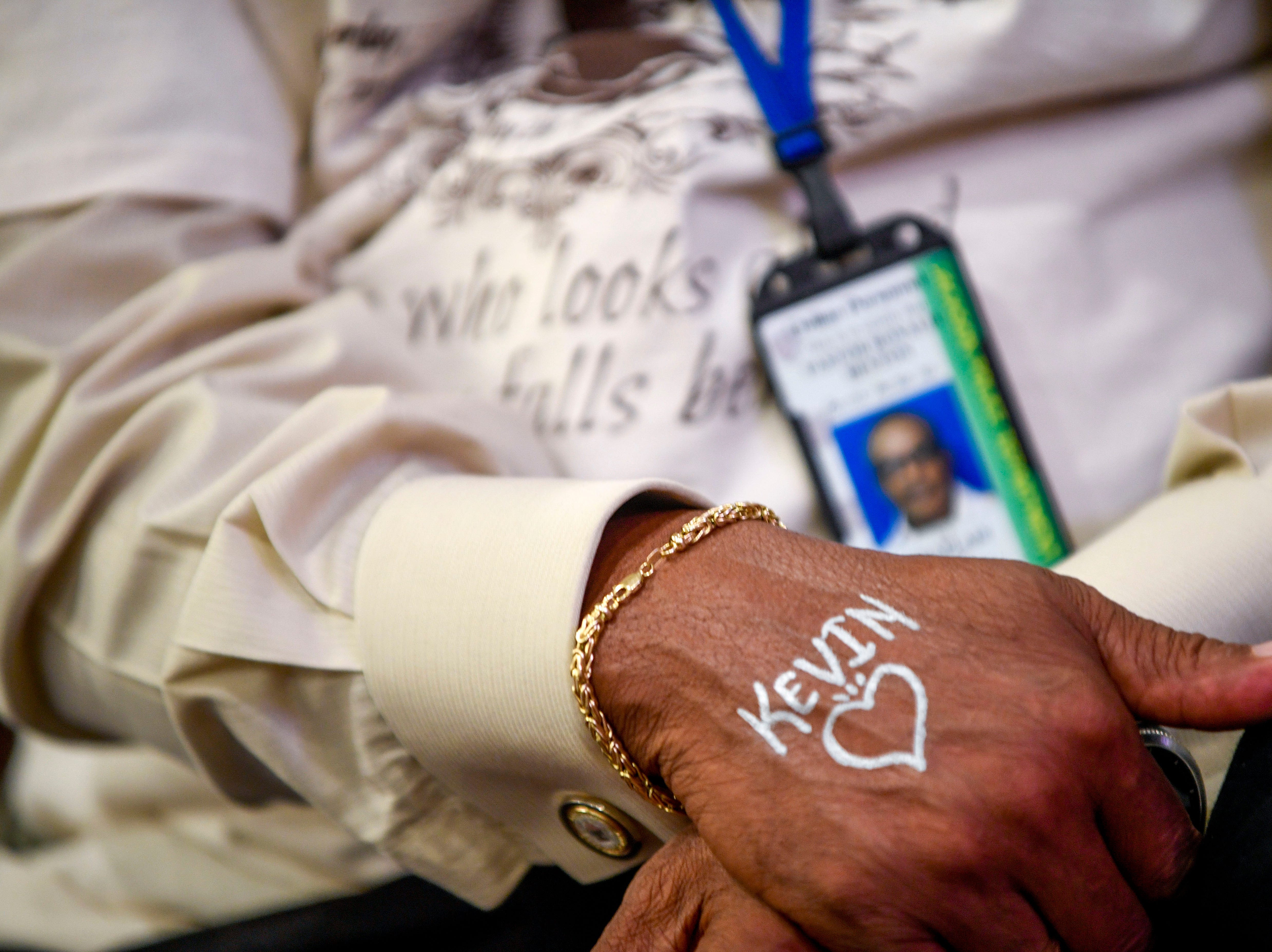 Attendees were offered the opportunity for their loved ones names and a design to be written on their hand during the annual Remember Me Walk hosted at Union University in Jackson, Tenn., on Monday, Oct. 1, 2018.