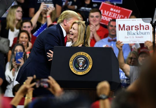 President Donald J. Trump gives a kiss to Marsha Blackburn after her speech at his Make America Great Again Rally Monday, October 1, 2018 in Johnson City.