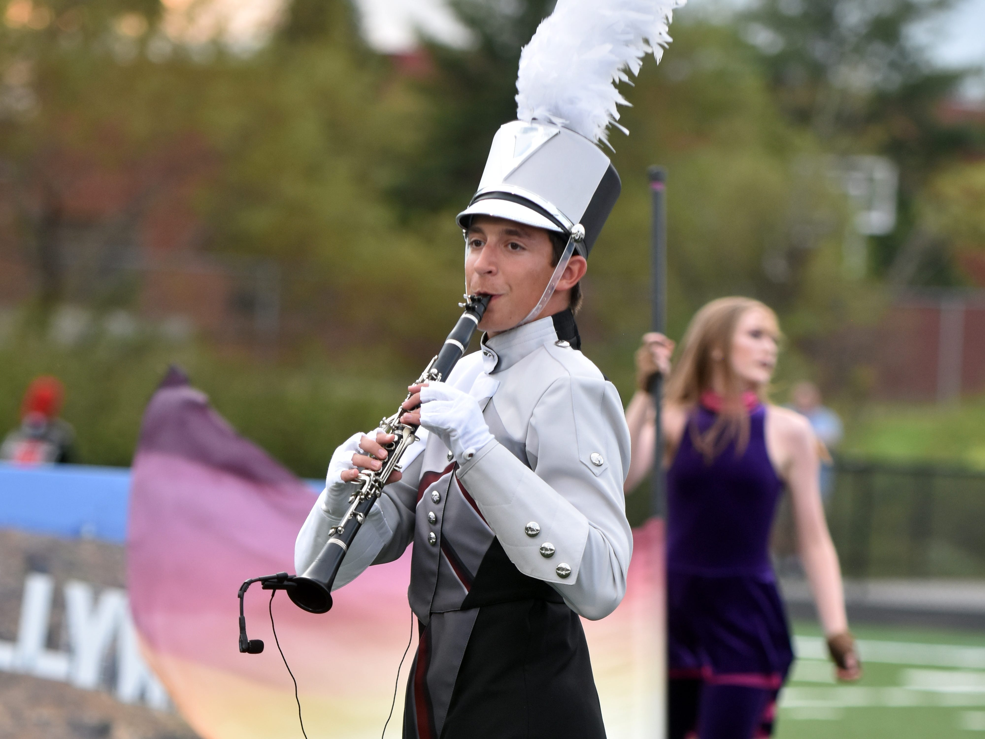 A member of the Bearden High marching band performs during the Knox County band exhibition, hosted by Hardin Valley Academy.