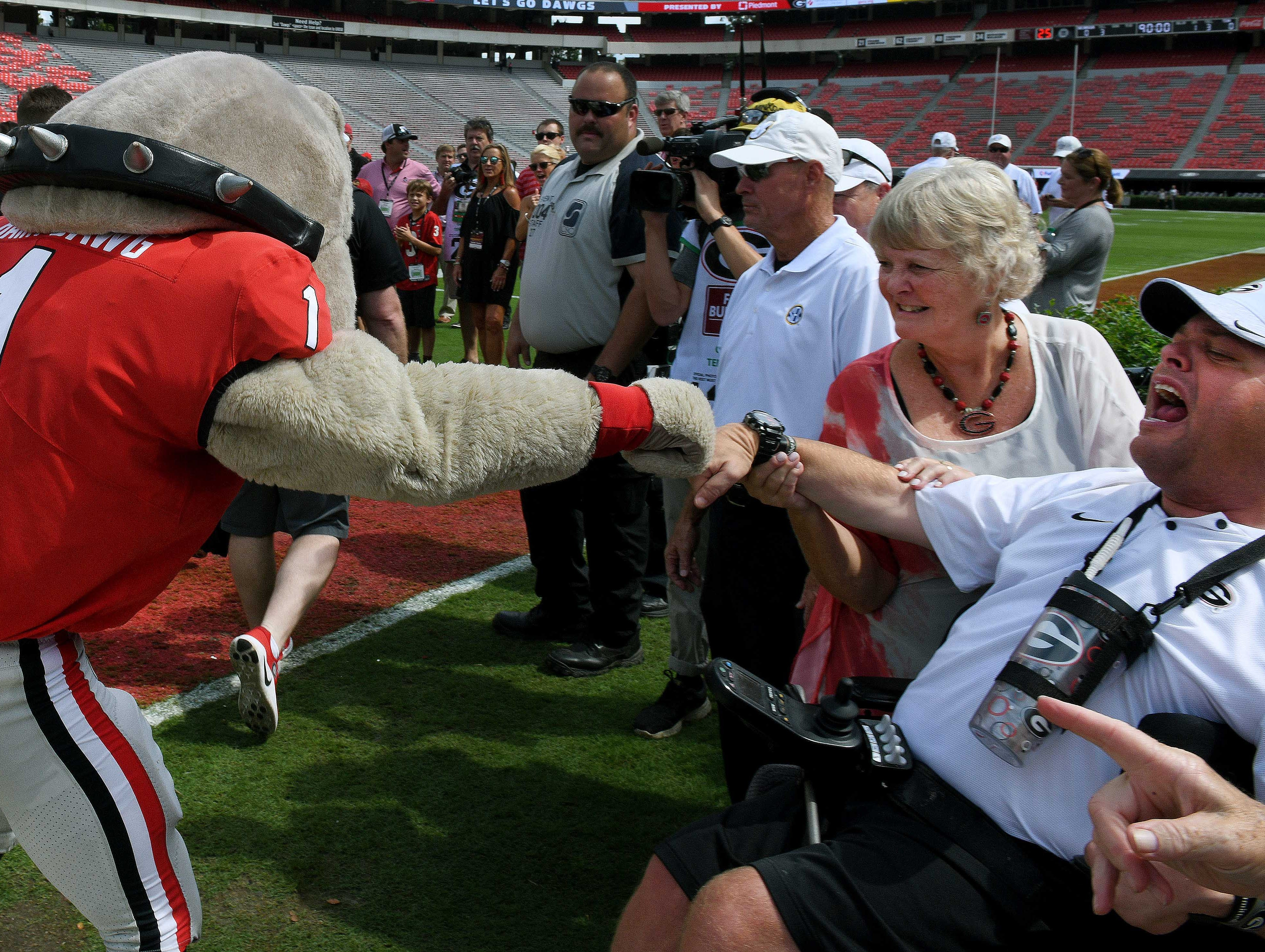 Harry the Dawg greets Georgia fans during the Dawg Walk before their game against Tennesse Saturday, September 29, 2018 at Sanford Stadium in Athens, GA.