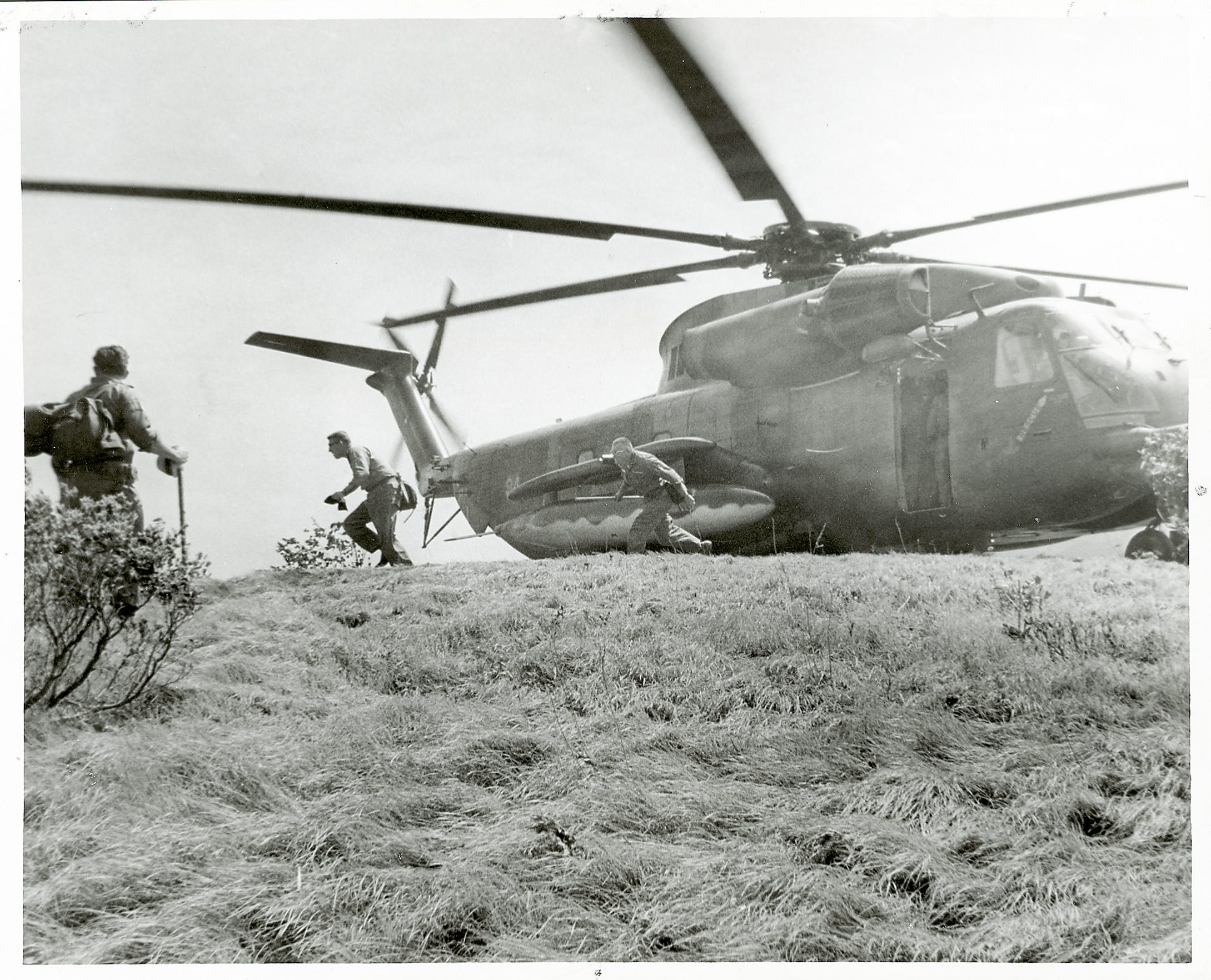 A Jolly Green Giant helicopter lands at Spence Field during the search for Dennis Martin, 6, on June 19, 1969, in the Great Smoky Mountains National Park.