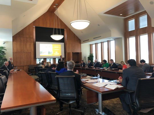 Participants in the Executive Leadership Institute sit in a session on their first day of the program. Over the next year, the 18 participants will meet six times to develop their leadership skills.