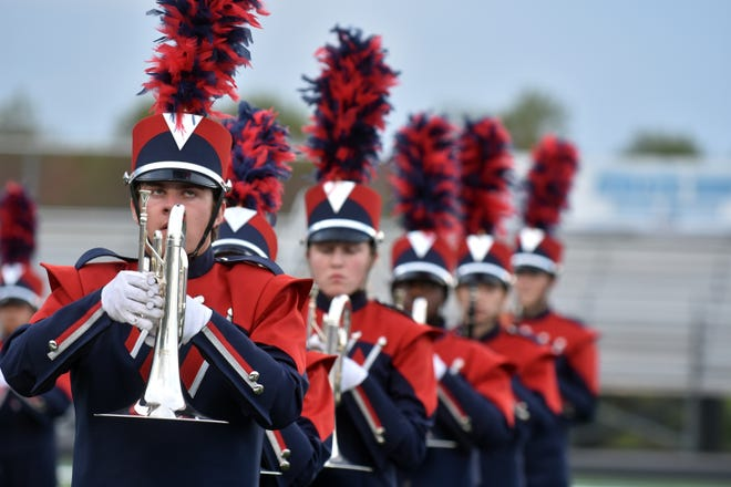 The West High band performs during the Knox County band exhibition on Monday, October 1.