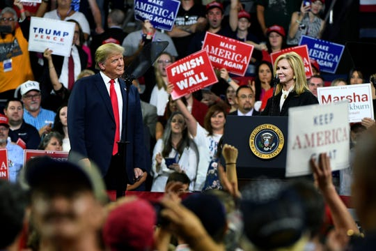 President Donald Trump with Marsha Backburn at his Make America Great Again Rally Monday, October 1, 2018 in Johnson City.