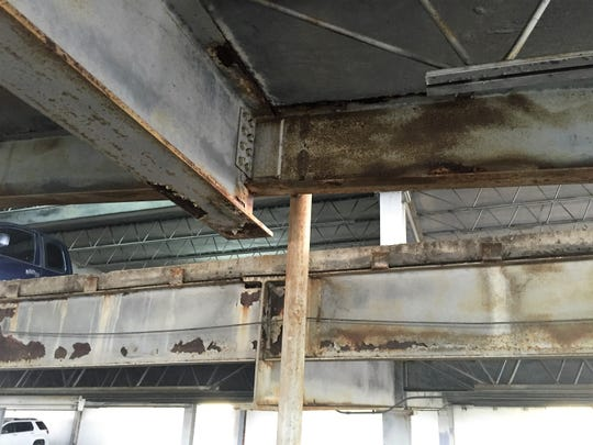 Rust, leaks and mildew are some of the problems with the interior of the Buchanan Street parking garage.