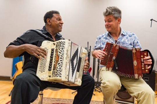 Grammy winners Chubby Carrier, left, and Steve Riley perform Tuesday, Sept. 25, 2018, in the KRVS studio.