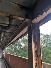 Rusting beams are common inside the Buchanan Street parking garage.