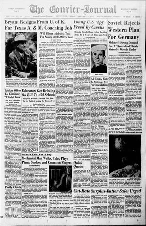 """The front page of the Feb. 5, 1954 edition of The Courier-Journal announced legendary coach Paul """"Bear"""" Bryant was leaving UK for Texas A&M."""
