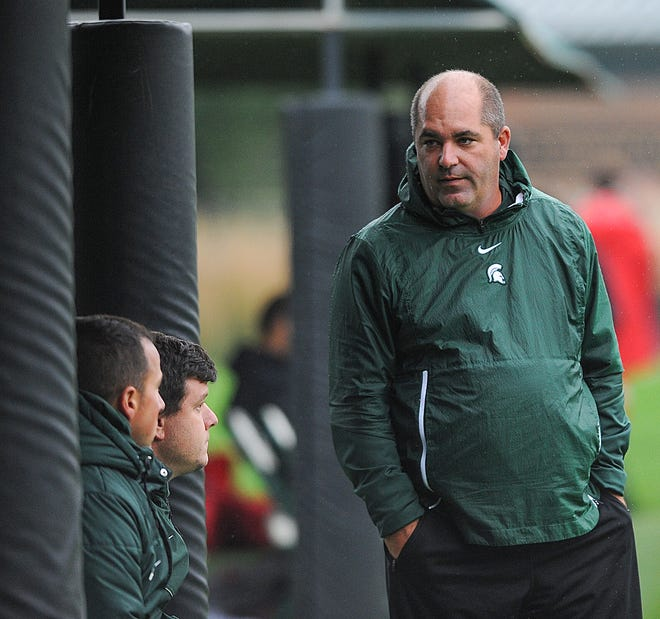MSU soccer head coach Damon Rensing on the sidelines against Wisconsin Sunday, Sept. 30, 2018.