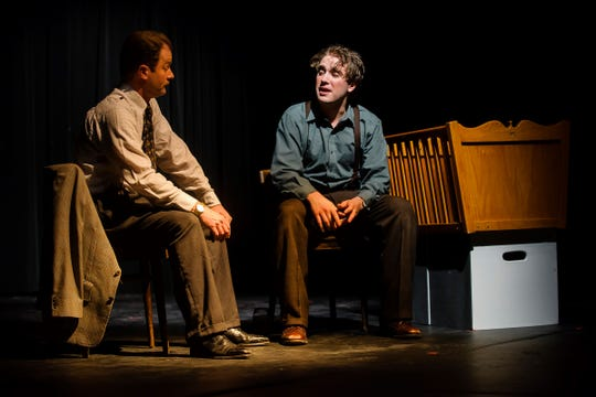 Joe Mull (right) performs in a play at Lansing Community College. Mull was killed Monday after a tree fell on his car.