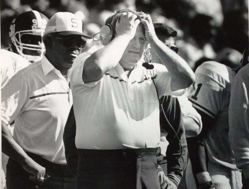MSU Football Coach George Perles reacts during a game, undated photo.