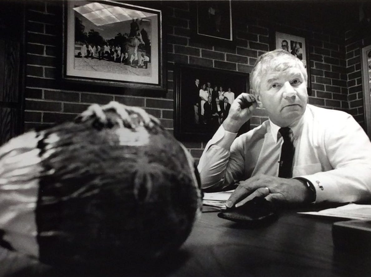 MSU's new athletic director George Perles talks about his new job during a morning news conference, Jan. 24, 1990.