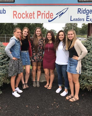Elisa Pfaff was crowned the 2018 Ridgedale High School Homecoming Queen at the game Sept. 28. The 2018 Court includes, from left, Jordyn Nutter, freshman attendant; Kamryn Dyer, senior attendant; Ainsley Jones, senior attendant; Elisa Pfaff, 2018 Homecoming Queen; Cheyenne Parker, junior attendant; Alison Hunsicker, sophomore attendant.
