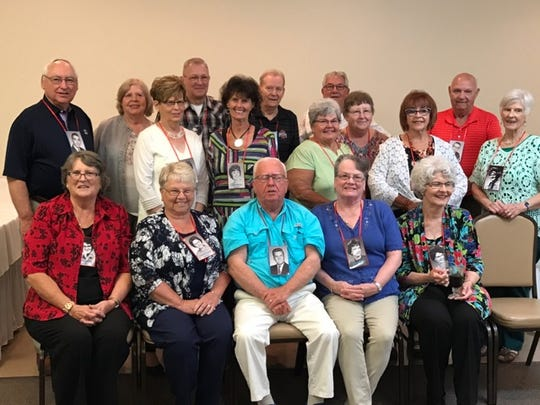 Ridgedale Class of 1963 had their 55th class reunion at All Occasions on Sept. 15. Seated, from left, isLinda Smith Lucas, Diana Brewer Seckel, Darrell Keirns, Rebecca Wood Slauson and Gloria Swick-Brown; second row,Sharon Windom Murphy, Janet Martin Porter, Candace Ferguson Rinnert, Cheryl Kelly Lemley, Jennifer Trumble Geiger and LeeAnn Duprey Hurlow; and back,Michael Murphy, Nancy Curtis Williams, Ronald Miller, Kenneth Marshall, James Adams and Sterling Edler.