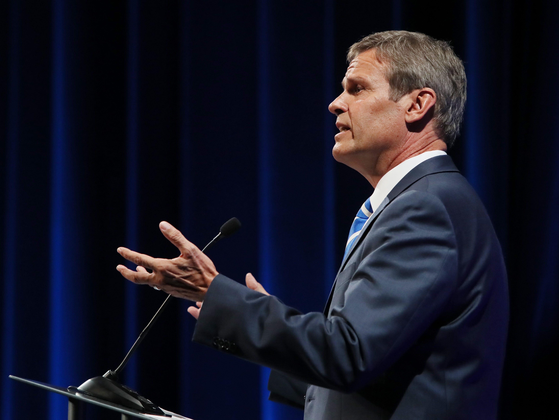 Republican Bill Lee speaks at the gubernatorial debate at the University of Memphis' Michael D. Rose Theater in Memphis, Tenn., on Tuesday, Oct. 2, 2018.