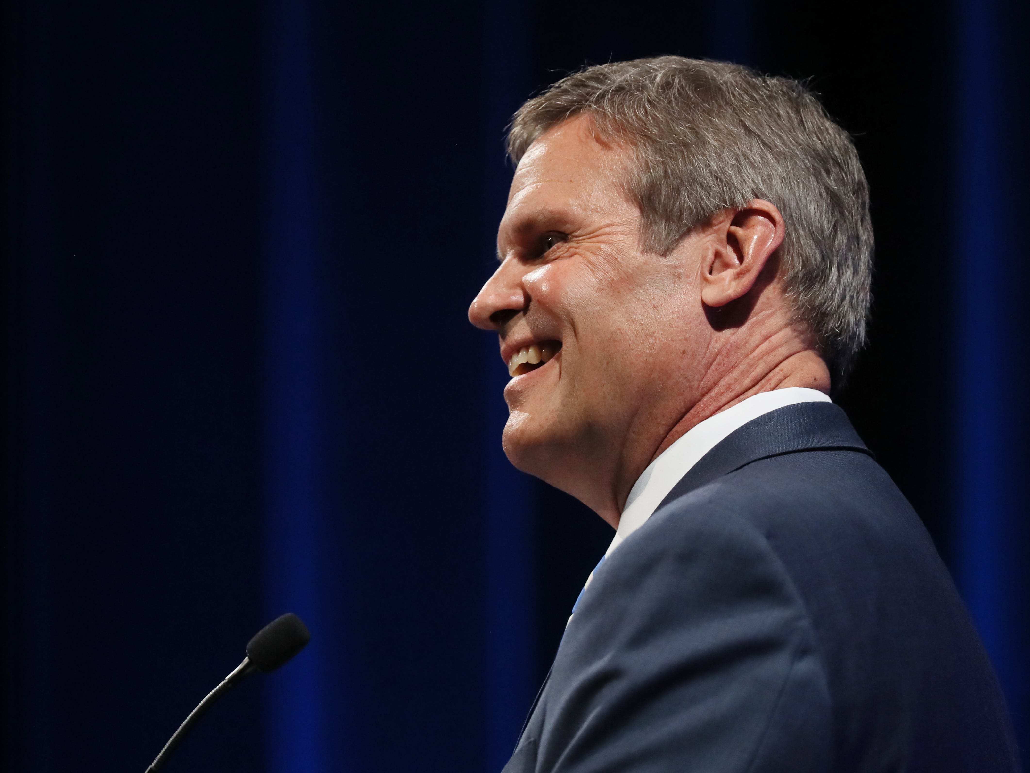 Republican Bill Lee looks at the crowd at the gubernatorial debate at the University of Memphis' Michael D. Rose Theater in Memphis, Tenn., on Tuesday, Oct. 2, 2018.
