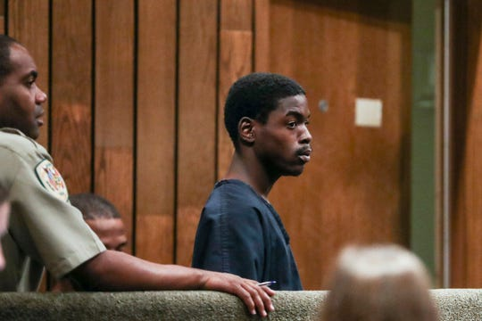McKinney Wright Jr., 22, appears inside of General Sessions Court Division Seven with Judge Bill Anderson on Oct. 2. Wright is one of three people charged in the shooting death of Phil Trenary.