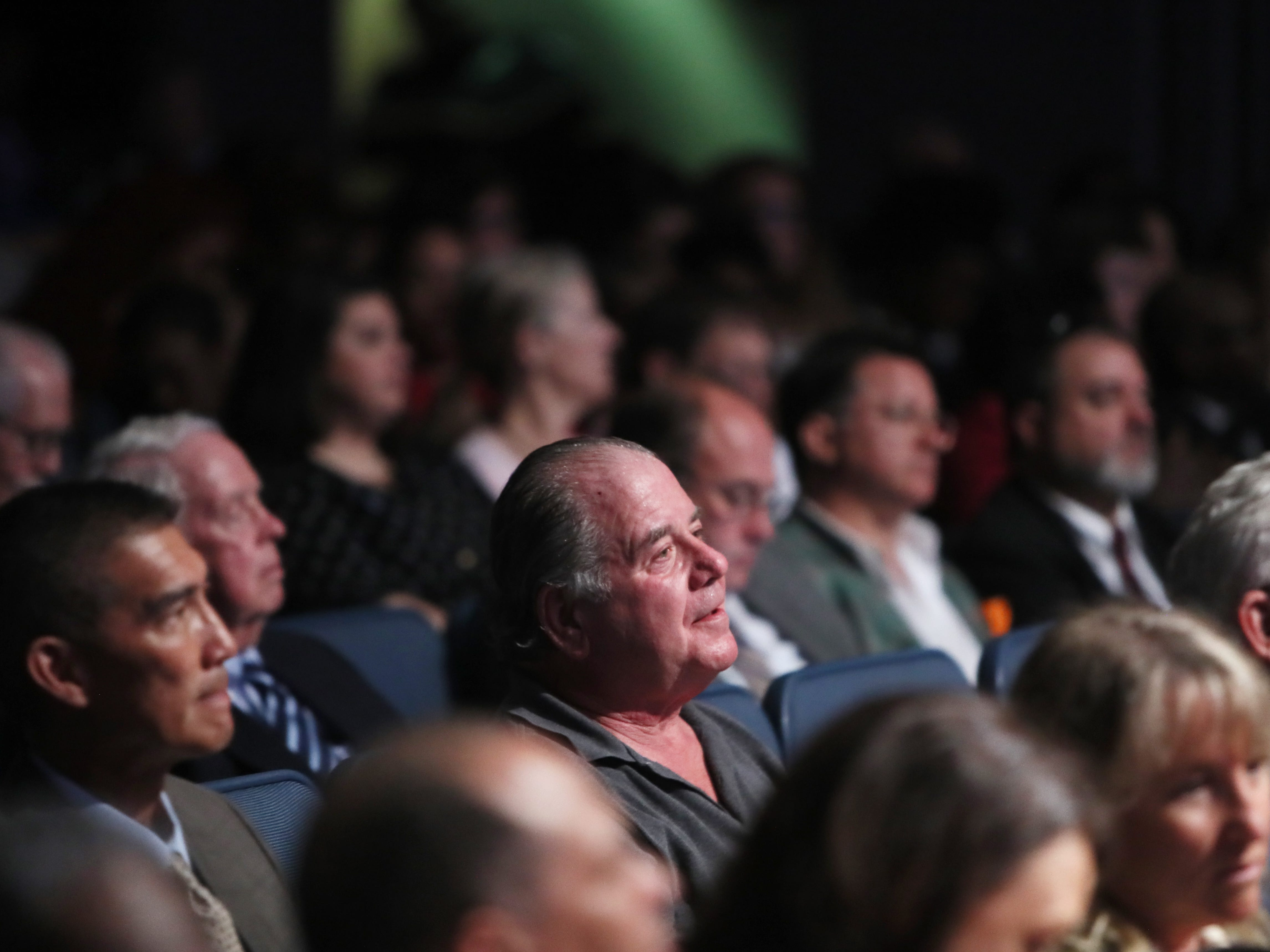 The crowd listens to the debate between Tennessee gubernatorial candidates Democrat Karl Dean and Republican Bill Lee at the University of Memphis' Michael D. Rose Theater in Memphis, Tenn., on Tuesday, Oct. 2, 2018.