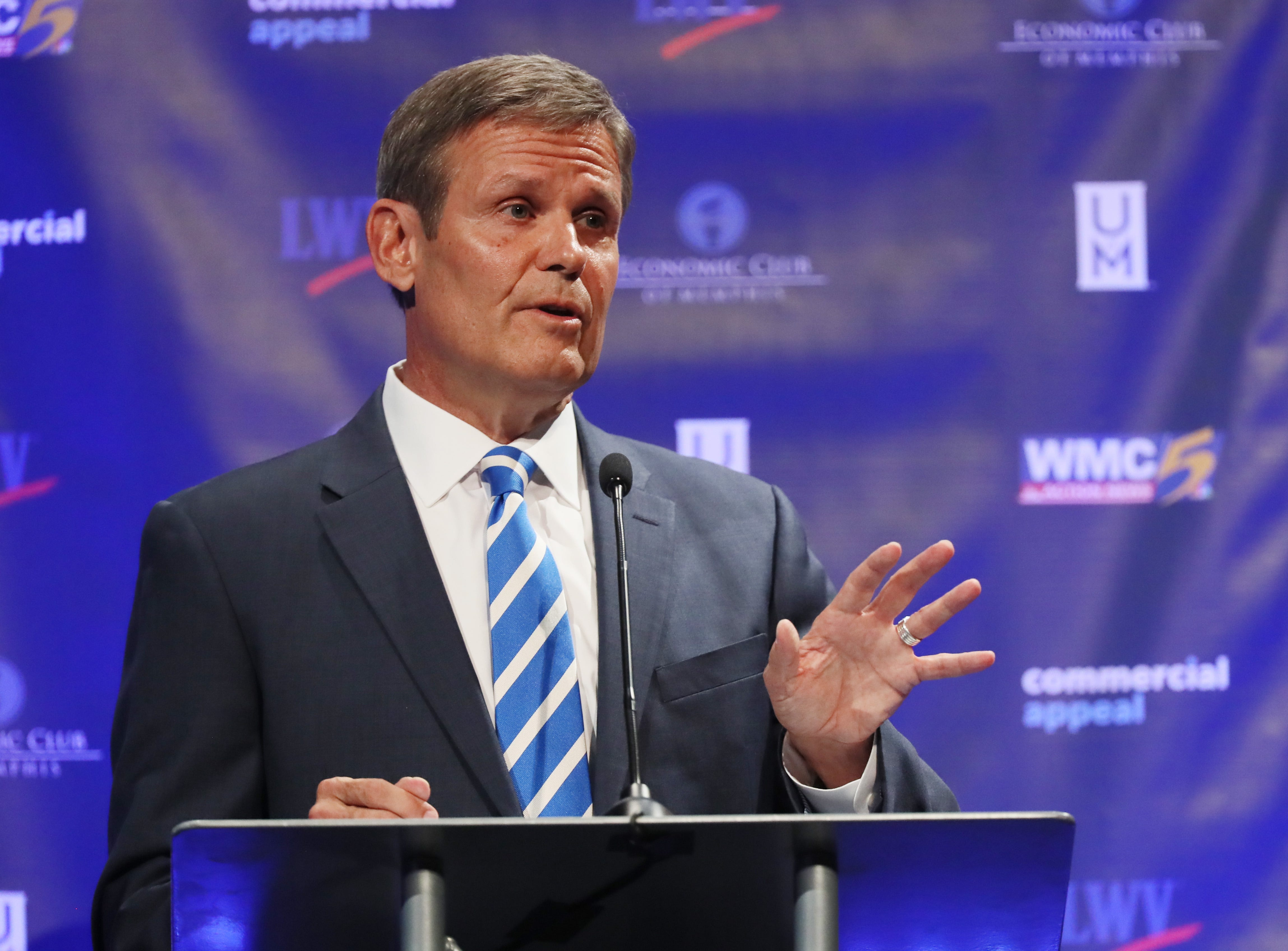 Republican candidate Bill Lee speaks at the gubernatorial debate at the University of Memphis' Michael D. Rose Theater in Memphis, Tenn., on Tuesday, Oct. 2, 2018.