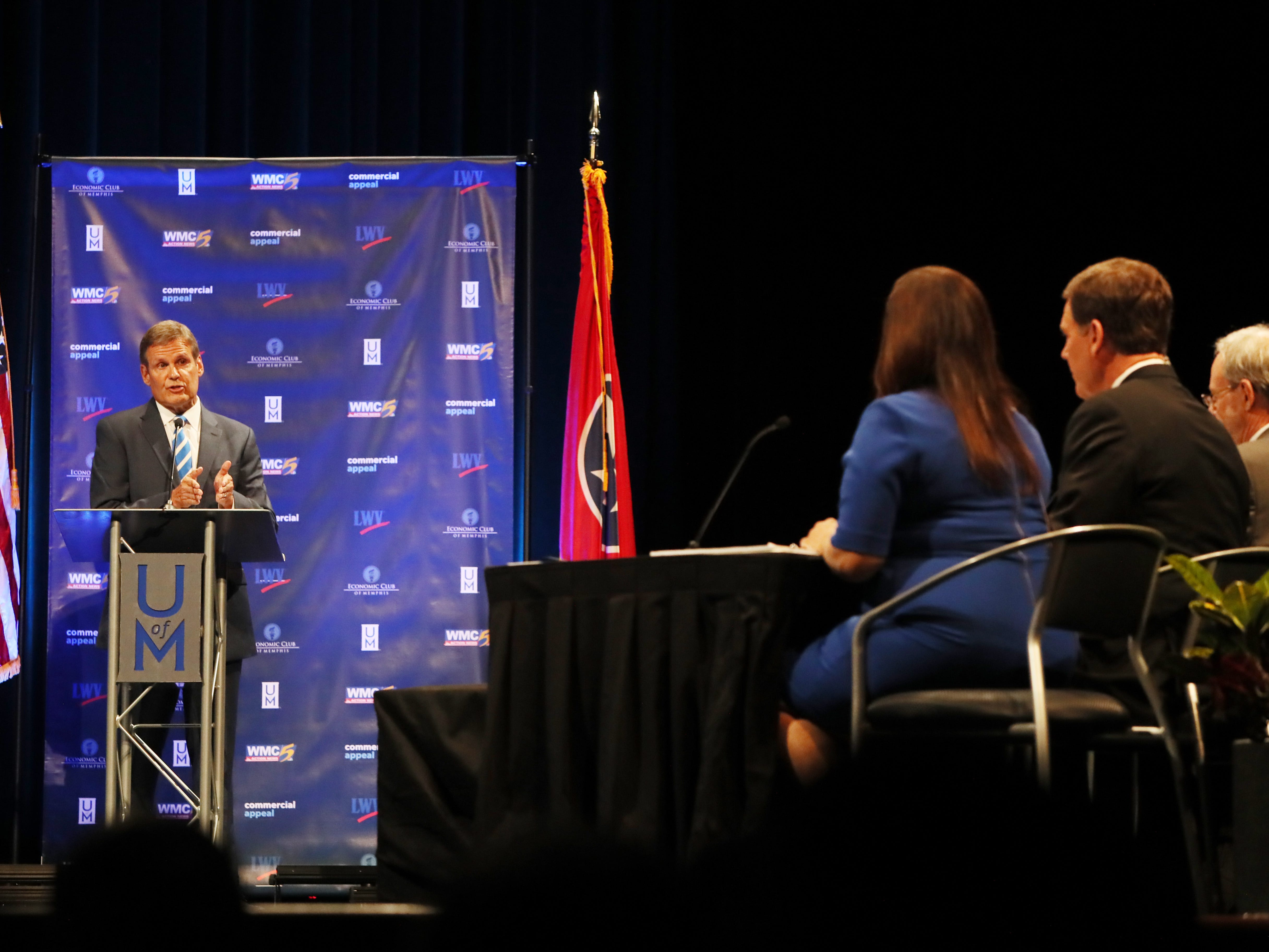 Republican candidate Bill Lee speaks at the gubernatorial debate with Democratic candidate Karl Dean at the University of Memphis' Michael D. Rose Theater in Memphis, Tenn., on Tuesday, Oct. 2, 2018.