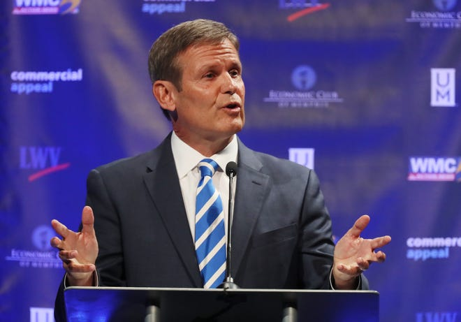 Republican Bill Lee speaks at the gubernatorial debate at the University of Memphis' Michael D. Rose Theater in Memphis on Tuesday, Oct. 2, 2018.