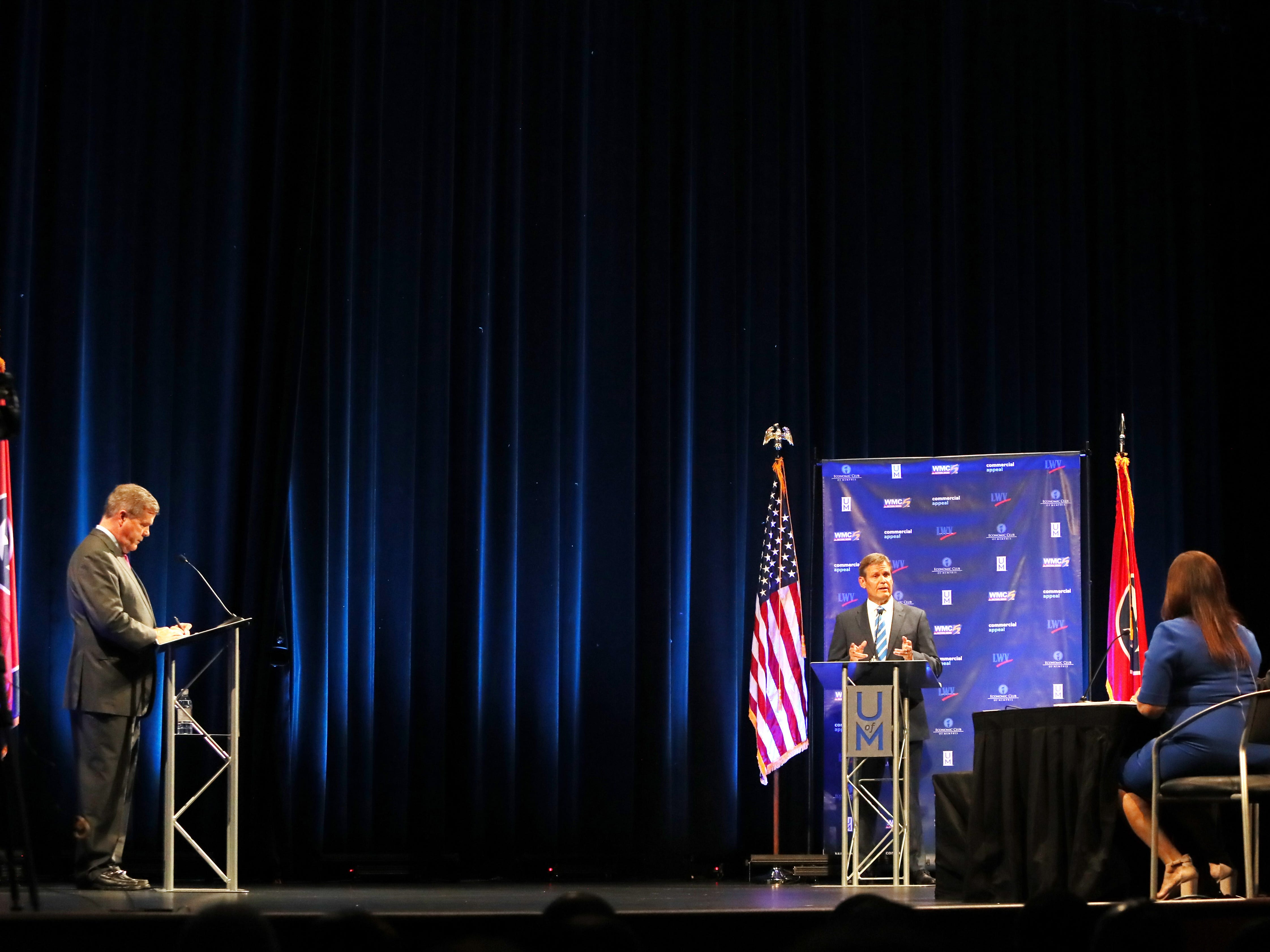 Republican candidate Bill Lee speaks at the gubernatorial debate with Democratic candidate Karl Dean at the University of Memphis' Michael D. Rose Theater in Memphis on Tuesday, Oct. 2, 2018.