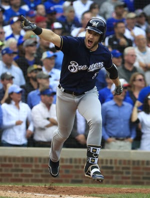 Brewers' Ryan Braun celebrates a run-scoring single against the Cubs in their one-game playoff to determine the NL Central winner in October 2018.